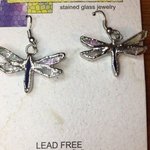 NWT dragonfly stained glass earrings